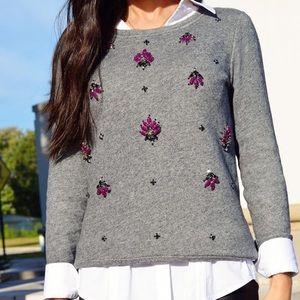 Ann Taylor LOFT Gray Embellished Jeweled Sweater